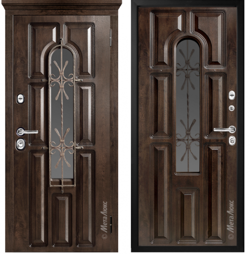 Metal entrance doors for the house with glass