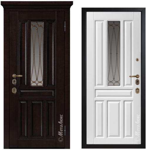 Metal door for house with glass CM1711/1 E2