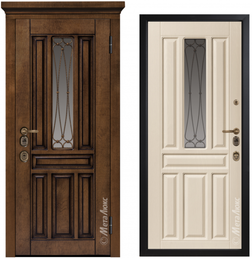Metal door for house with glass CM1711/15