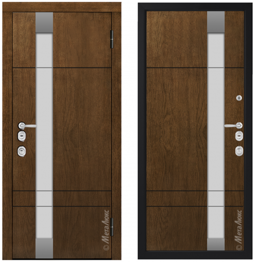 Metal door for house with glass CM1713/9