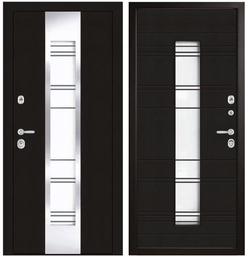 Metāla durvis mājai ar stiklu CM365/2