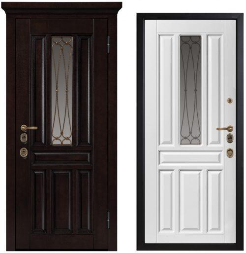 Metāla durvis mājai ar skaistu stiklu