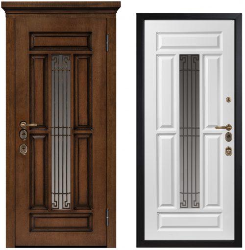 metāla durvis mājai ar stiklu